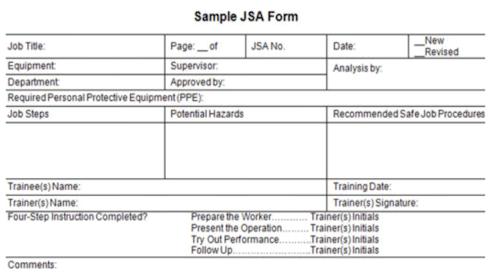 Jsa Template Free. Form 5X5 Jsa Template. Importance Different