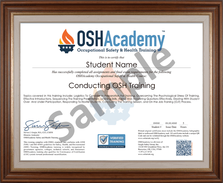 Conducting Safety Training Oshacademy Free Online Course