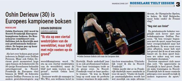 Nieuwsblad, artikel door Bert Feys