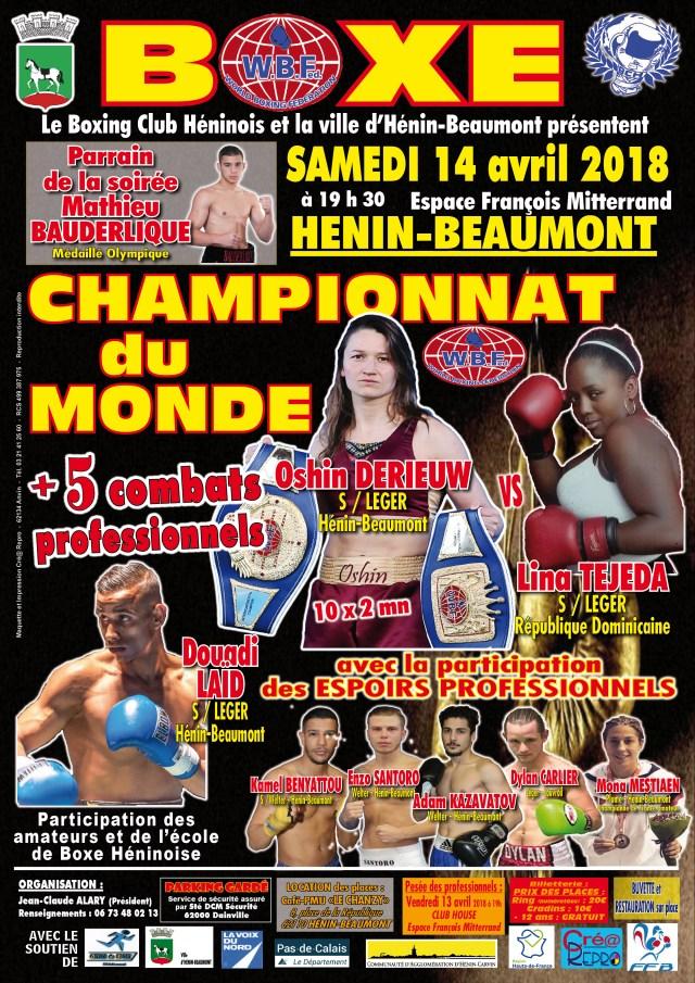 Affiche boks gala 14 april 2018, Oshin