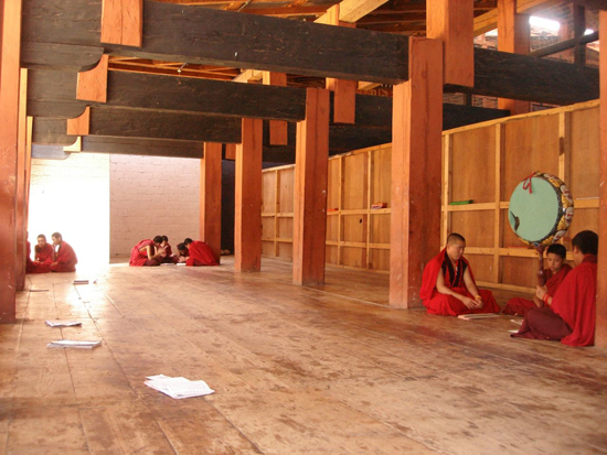 Monks studying in dzong