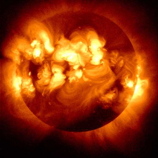 Solar Flares on Sun
