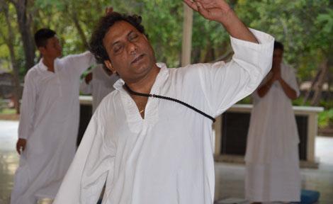man dancing in meditation