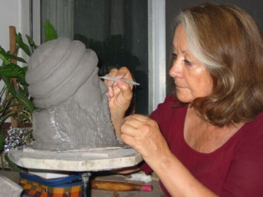 Vinit working on Osho sculpture