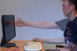 one arm from screen