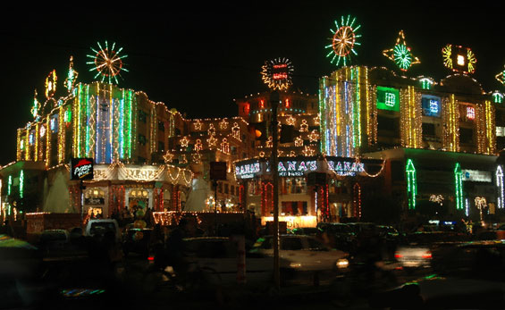 Diwali street decorations in Jaipur