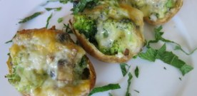 Broccoli and Mushroom Filled Potatoes