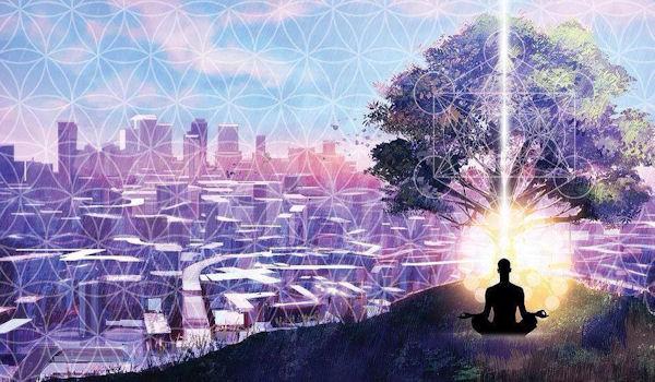 landscape with meditator
