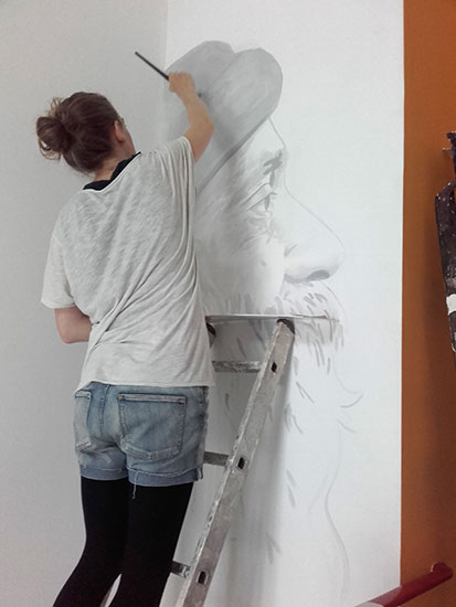 Osho mural by Fanny Lalitya Petersen