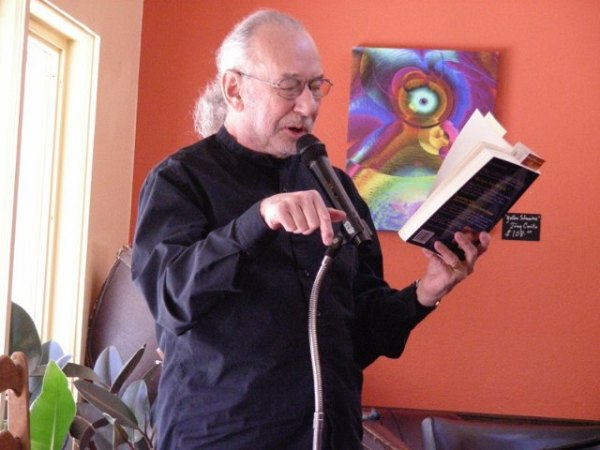 "Reading from second novel, ""The Alien Manifesto,"" at a Sedona book signing."