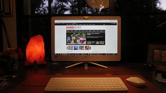 Salt lamp next to computer