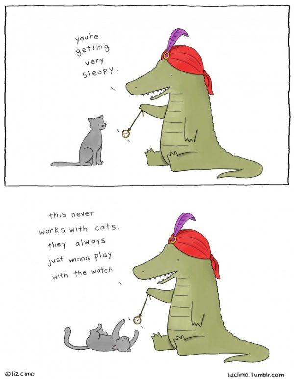 Hypnosis for cats, a cartoon by Liz Climo