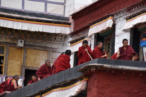 Monks practicing music