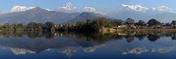 The Himalaya from Phewa Lake near Pokhara