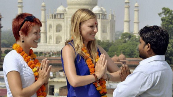 Westerners greet with Namaste