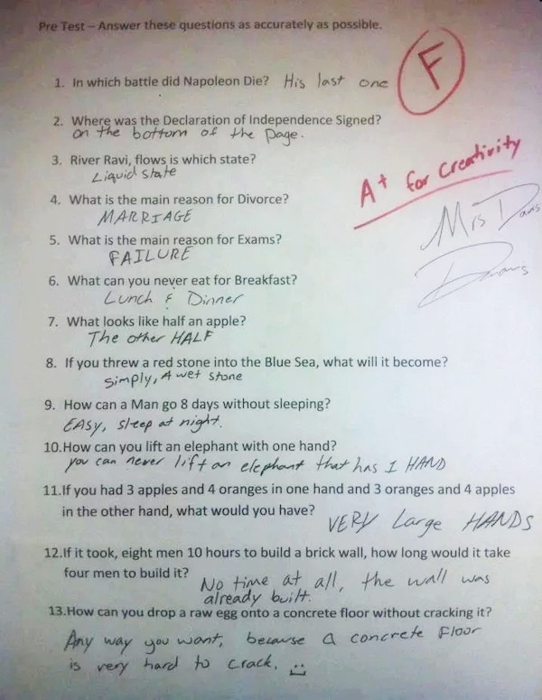 Witty answers school test