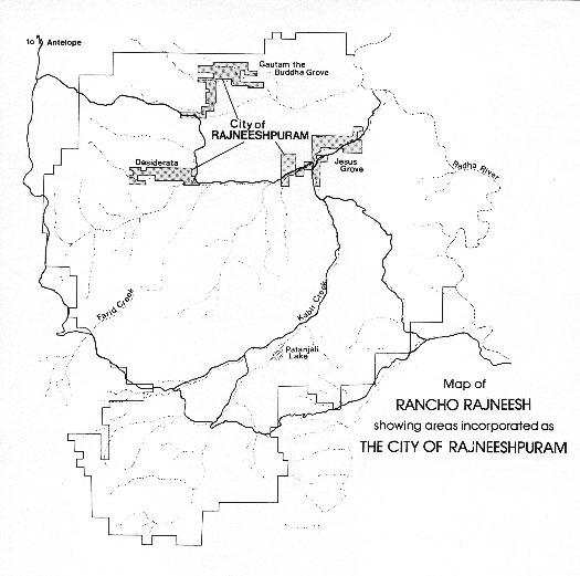 Rajneeshpuram map