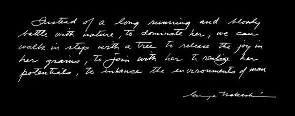 Nakashima quote handwriting
