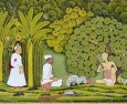 Emperor Akabar hears Haridas play outside his hut