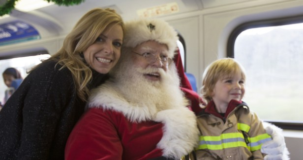 Jill Haney with Santa and her son, Colin.