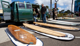 Mitch Talcove and Keith Eshelman discuss longboards at the California Surf Musuem Swap Meet