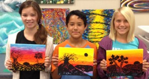Valley Middle School's Nicole Burke, Cesar Conklin and Daymienne Deem display their artwork. (courtesy photo)