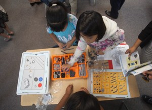 Students at work in a robotics class