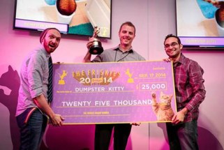 "The Fine Bros. present Chris Poole with $25,000 for being the Grand Prize winner of ""The Friskies"" 2014 - awards for the best Internet cat videos of the year"