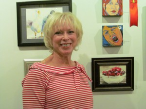 Artist Diane O'Connell with Life is a Bowl of Cherries.