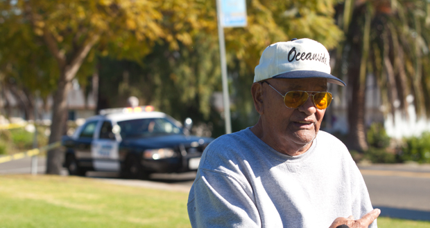 Oceanside resident, Bill Stone discovered a body in Buddy Todd Park while walking his dog early this morning