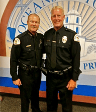 Oceanside Polocie Chief Frank McCoy and Officer Mike Hatfield