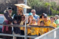 Pirates greeted the kids as they board a boat at the harbor for a half-hour cruise.