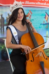 Miss Fil-Am 2015, Heidi Card playing Bach Suite #1 in G Prelude on the Cello during the Pinoy's Got Talent portion of the program