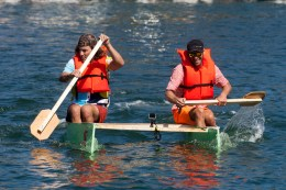 """Nail and Sail design champs and race runner-up Philip Dow and Ryan Tracy on their entry named """"Cheatin Oars"""""""