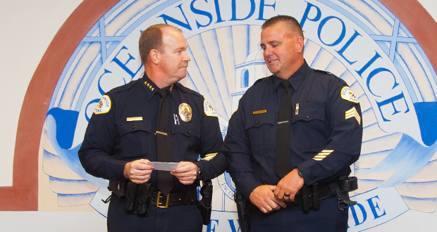 Oceanside Police Chief Frank McCoy with Sgt. Jim Ridenour