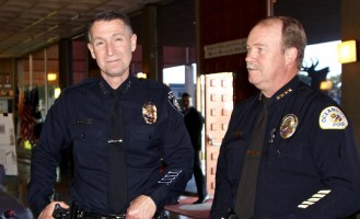 Carlsbad Police Department Chief Neil Gallucci and Oceanside Police Chief Frank McCoy (file photo)