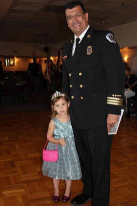 Division Chief Mike Lopez (Carlsbad Fire Dept.) and daughter Hope Lopez at Oceanside American Legion Law & Order Awards Dinner.