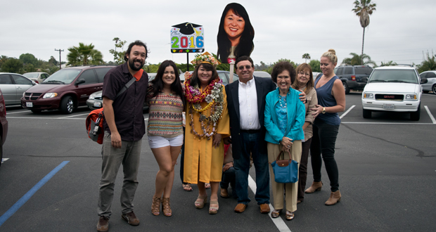 Katherine Gonzales with he family before the ceremony