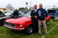 OPD Senior Volunteer, Frank Lanza and Oceanside Mayor Jim Wood in front of Franks 1967 Ford Mustang
