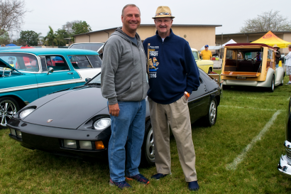 South O Principal, David Morrow with Oceanside Mayor Jim Wood in front of the mayors classic 1982 Porsche 928