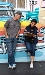 Curt and Cindy Turner fill out a survey during the Coast Highway Walking audit on Saturday.