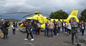 O helicóptero do 061 copou a atención do público na clausura de Previsel
