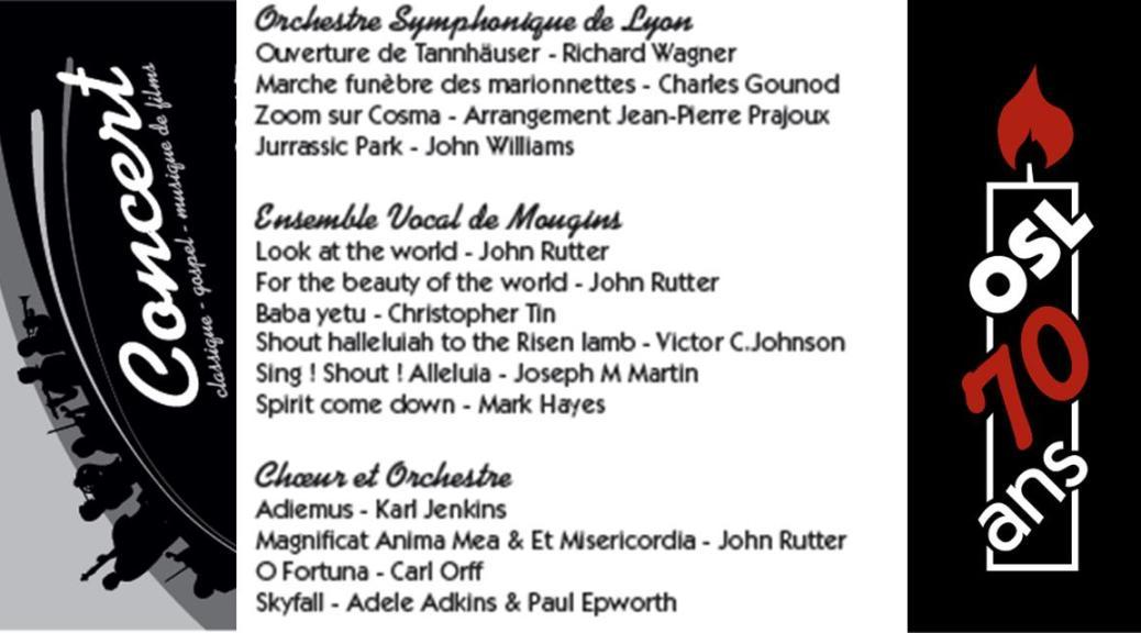 Programme des Concerts Orchestre Symphonique de Lyon et Ensemble Vocal de Mougins