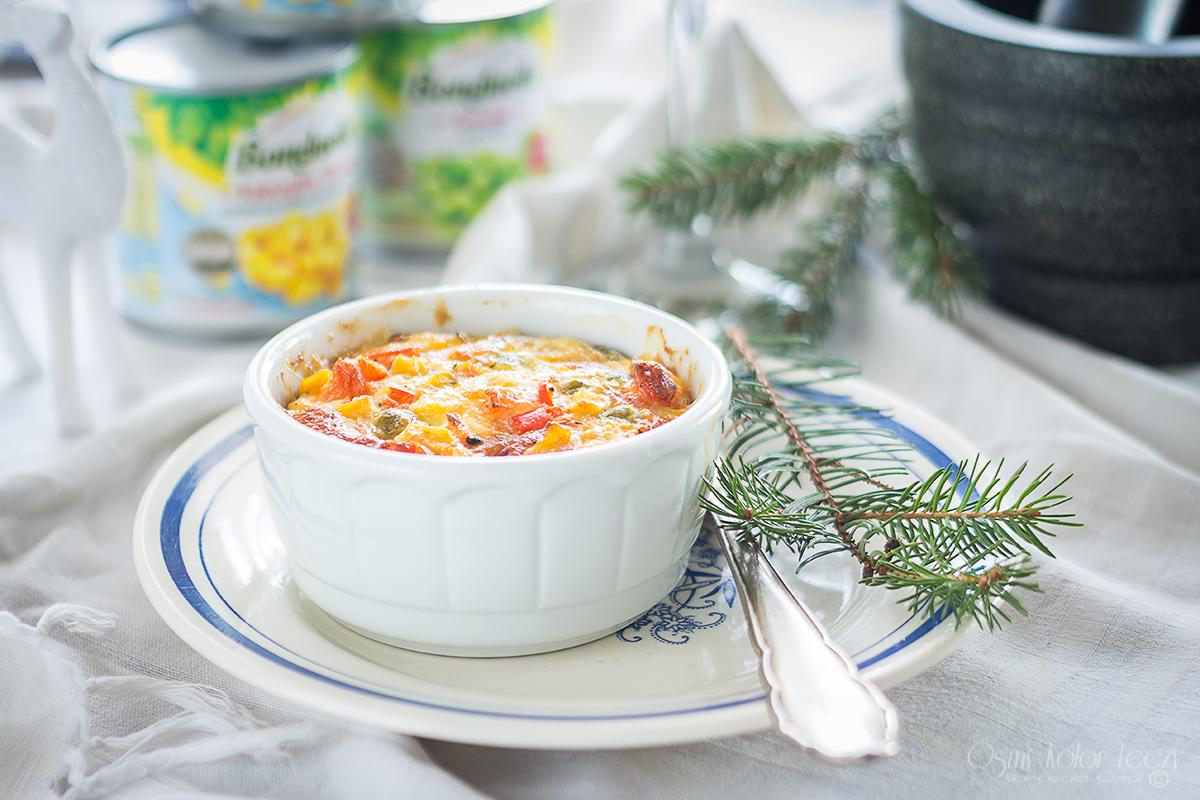 casserole z groszkiem i marchewka