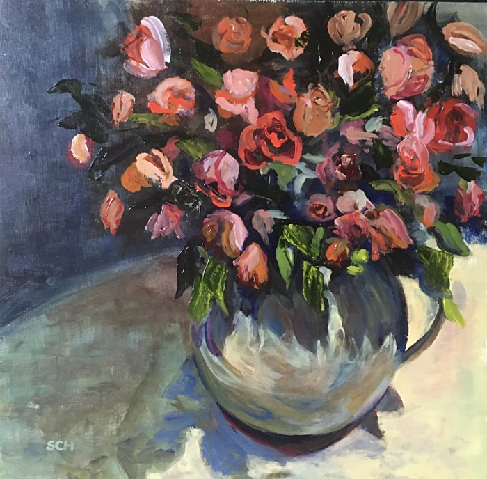Big Birthday Roses 50x50cm £275 acrylic on Board - SARAH NESBITT