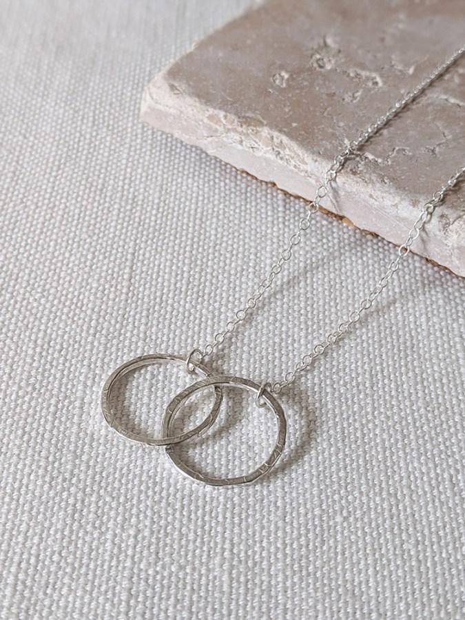 Lianne Hoult - Figure Jewellery - Interlocked Hammered Circles Pendant