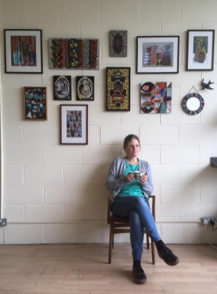 Sophie Robins in front of work in studio - sophie.robins@yahoo.co.uk