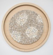 Julie Vernon Mosaics - Natural Beach White circles, interior wall art