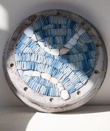 Julie Vernon Mosaics - Reclaimed Blue Vespa mosaic wall art
