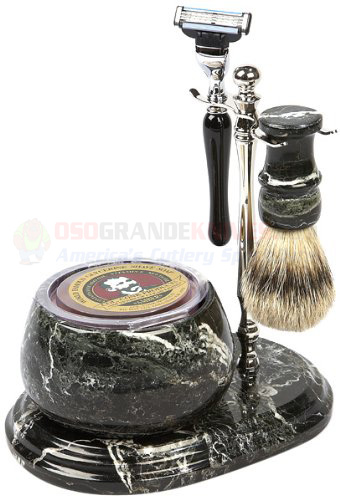 Colonel Conk Mach 3 Marble Zebra 5 Piece Shave Set With